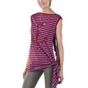 Jean Paul Gaultier red gray striped anchor tee top